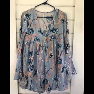 Free People Light Blue Floral Boho Tunic Top